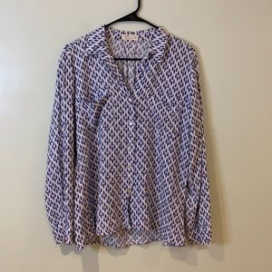Just Living Blue & White Pattern Casual Button Up